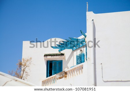 Traditional Tunisian windows in Djerba - stock photo