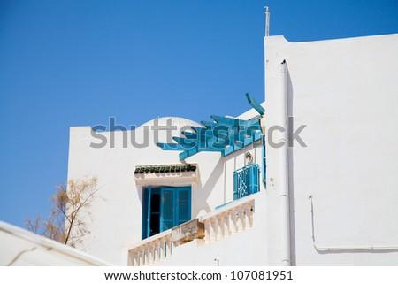 Traditional Tunisian windows in Djerba - stock photo