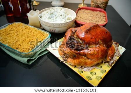 Traditional turkey dinner - stock photo
