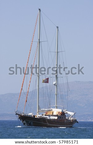 Traditional Turkish boat or gulet at sea