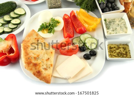 Traditional Turkish breakfast close up - stock photo