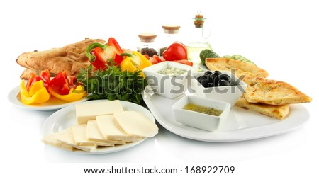 Traditional Turkish breakfast isolated on white