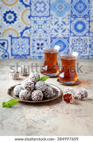 Traditional Turkish Carrot Delight (Cezerye), selective focus - stock photo
