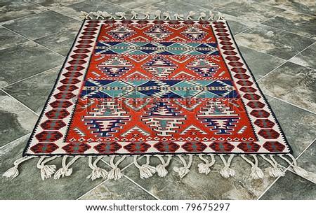 Traditional turkish craft - hndmade wool capet - stock photo