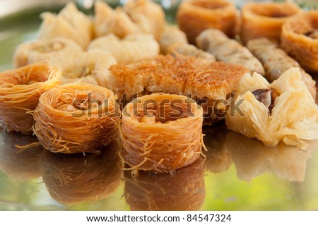 Traditional turkish dessert sweets assorted - stock photo