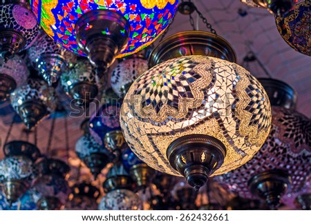 Traditional Turkish lanterns (hanging mosaic glass lamps) - stock photo