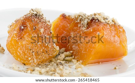 Traditional Turkish pumpkin dessert called kabak tatlisi.   - stock photo