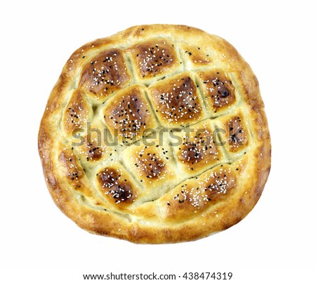 Traditional Turkish ramadan pita bread isolated on white background