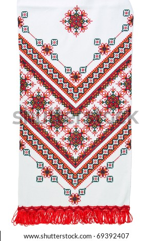 Traditional Ukrainian embroidered towel in red colors isolated on white background - stock photo