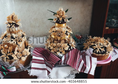 Traditional ukrainian wedding bread on the table