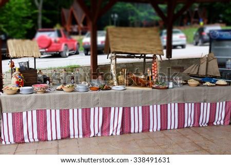 Traditional ukrainian wedding decorations feast embroidery stock traditional ukrainian wedding decorations for feast with an embroidery tablecloth outdoors junglespirit Gallery