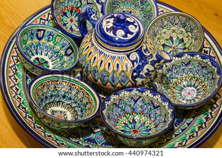 Traditional Uzbek Plates and dishes in Uzbekistan Central Asia. Silk Road country.Plates & Traditional Uzbek Plates Dishes Uzbekistan Central Stock Photo (Edit ...