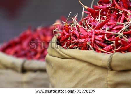 Traditional vegetable market in India. - stock photo