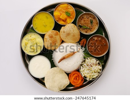 Traditional vegetarian indian thali lunch meals stock for Authentic south indian cuisine