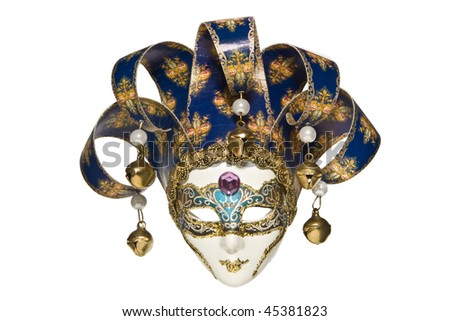 Traditional venetian mask blue with gold isolated on white. - stock photo