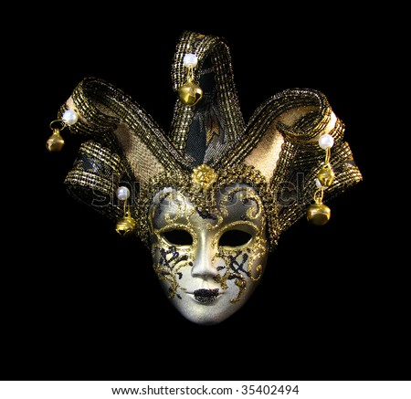 Traditional venetian mask with golden decoration - stock photo