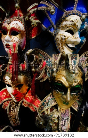 Traditional Venice carnival masks, Italy