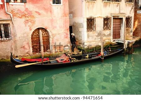 Traditional Venice gondola ride - stock photo