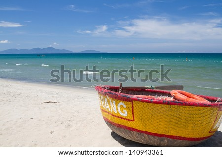 Traditional Vietnamese boat in the basket shaped - stock photo