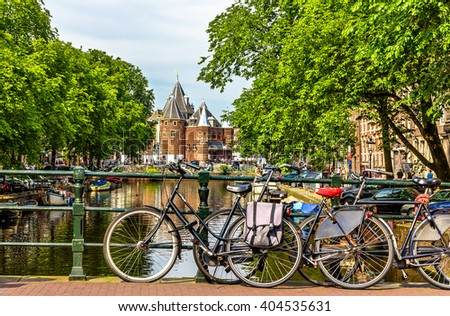 Traditional view of Amsterdam: bicycles and canals