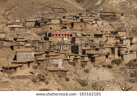 Traditional village in Atlas Mountains - stock photo