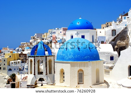 Traditional village of Fira at Santorini island in Greece - stock photo
