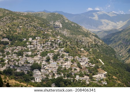 Traditional village of Syrrako at Tzoumerka, Pindus mountains, Epirus, Greece - stock photo