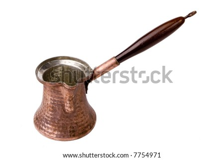 Traditional Vintage Coffee Pot made of copper - stock photo