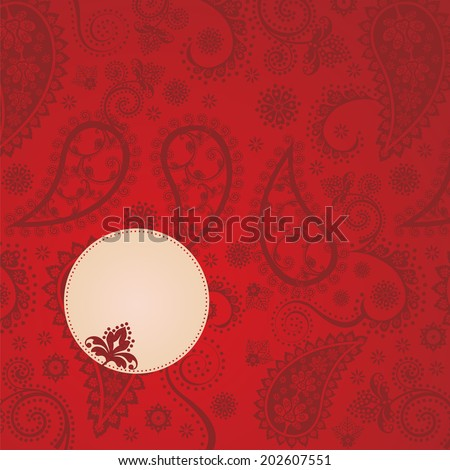 Traditional vintage red paisley floral background with space for text