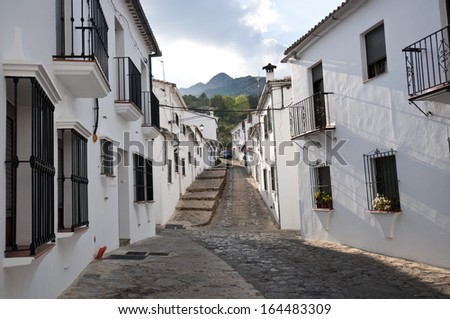 Traditional white houses in Grazalema town, Spain. This village is part of the pueblos blancos -white towns- in southern Spain Andalusia region