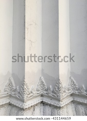 Traditional white pole in temple, abstract texture background.
