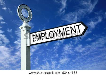 Traditional white wooden finger post employment sign - stock photo