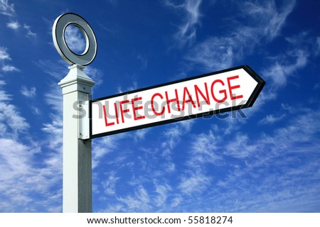 Traditional white wooden finger post life change sign - stock photo
