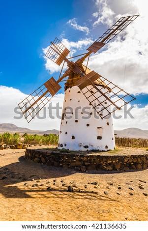 Traditional Windmill - El Cotillo, Fuerteventura, Canary Islands, Spain - stock photo