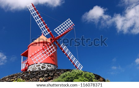 Traditional windmill near Feteira  Piso Island, Azores Islands - stock photo
