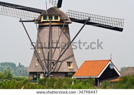 Traditional windmill of the Netherlands - stock photo