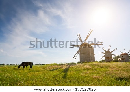 traditional windmill on the countryside. Landscape - stock photo