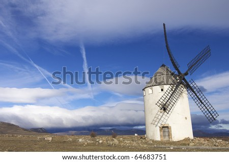Traditional windmill with blue sky in Spain