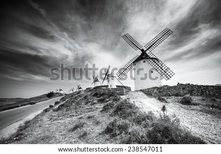 traditional windmills in Consuegra, Toledo, Spain - stock photo