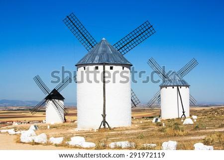 Traditional windmills of Castilla La Mancha. Toledo, Spain. - stock photo