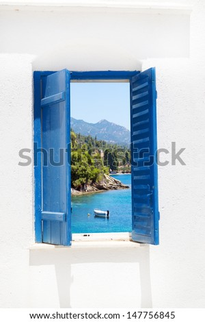 Traditional window with sea view at Halkidiki peninsula, Greece - stock photo