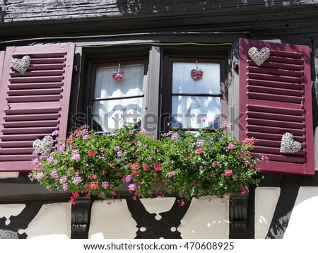 Traditional windows with colorful flowers in the medieval villages of Alsace, North East France.