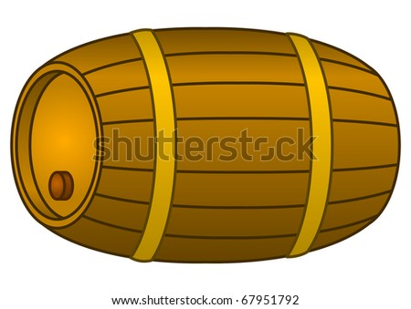 Traditional wine wooden barrel with a stopper and hoops, vector, contour - stock photo