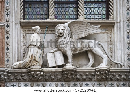 traditional winged lion sculpture with open book from Venice,Italy