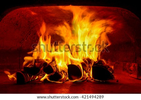 traditional wood fire oven inside hot  - stock photo