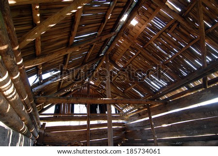traditional wood structure with timber shingle - stock photo