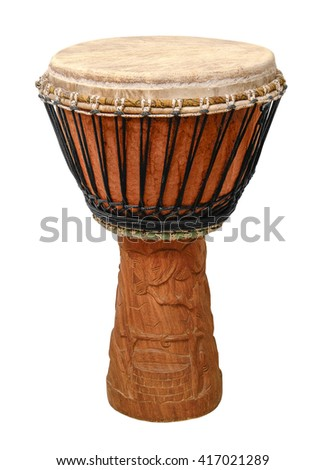 traditional wooden african djembe drum in white back - stock photo