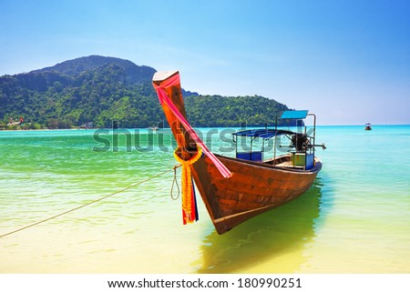 Traditional wooden boat at Phi Phi island, Thailand, Asia