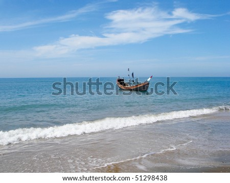 Traditional wooden boat at the shore of the Saint Martins island of Bangladesh - stock photo