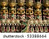 traditional wooden carvings at temple in ubud bali - stock photo